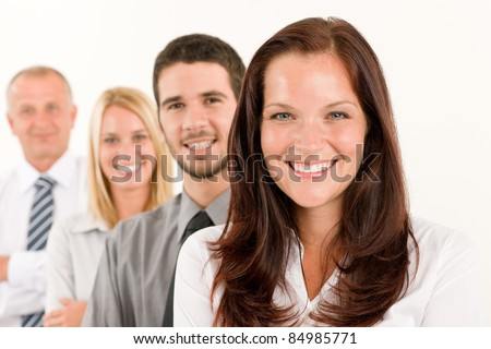 Business team happy attractive woman colleagues standing in line portrait - stock photo