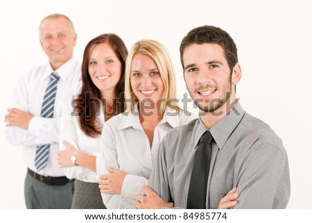Business team happy mature man colleagues standing in line portrait - stock photo