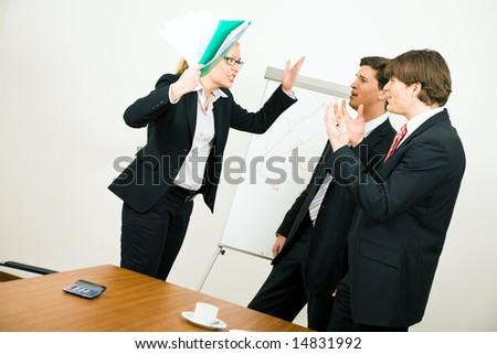 Business team having a quarrel - stock photo