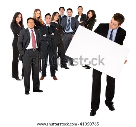 Business team holding a banner ad isolated on white