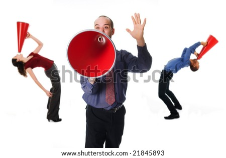 business team holding a red megaphone