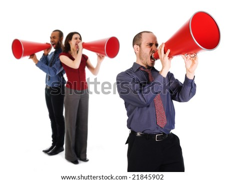 business team holding a red megaphone on emotions - stock photo