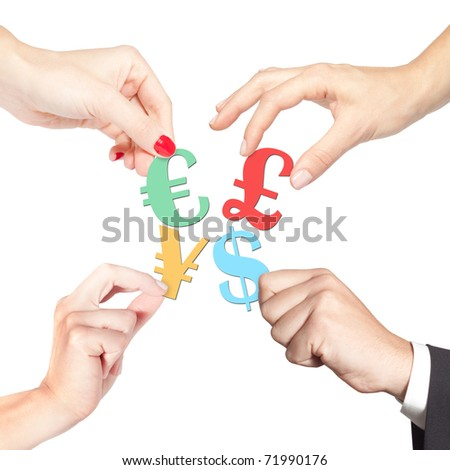 Business team holding different currency symbols (euro, dollar, yen, pound). Stock market, exchange, investment, commerce concept, teamwork and more - stock photo