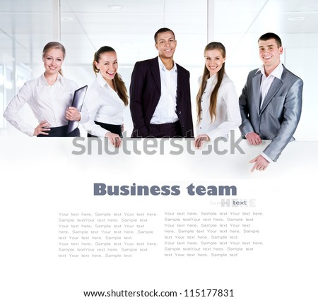Business team holding the clipboard with copy space for text or design - stock photo