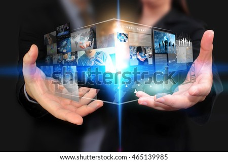 Business team holding virtual screen.business concept.social media