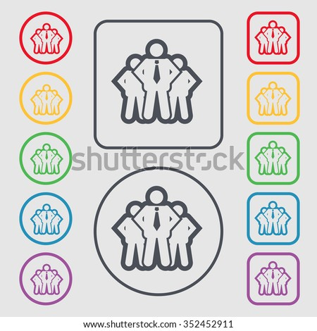 business team icon sign. symbol on the Round and square buttons with frame. illustration - stock photo