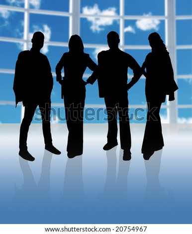 business team in a big office with windows - stock photo