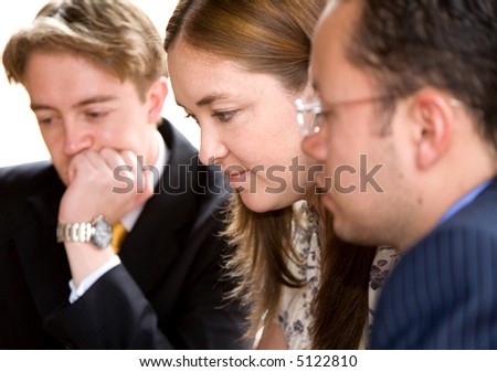 business team in a meeting at the office - analizying - stock photo