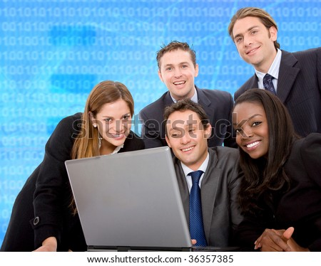 business team in a meeting on a laptop computer