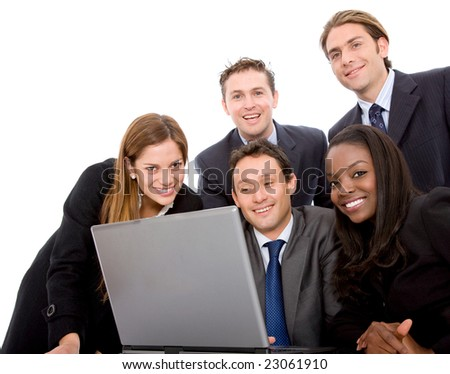 business team in a meeting on a laptop computer isolated