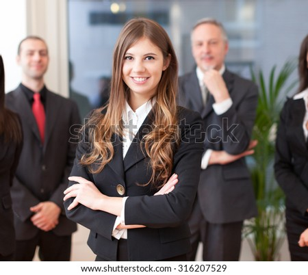 Business team in an office - stock photo