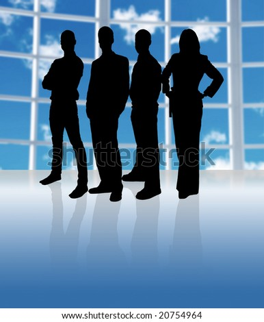 business team in an office in silhouette - stock photo