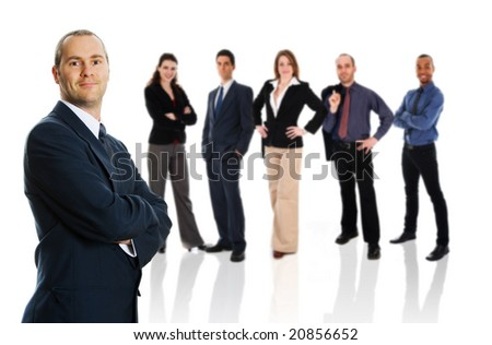 business team in business suit on isolated background - stock photo