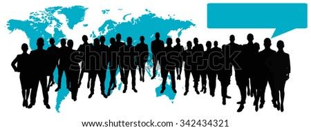 Business team in front of world map with speech bubble