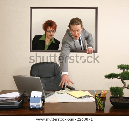 Business team in portrait on wall stealing money from desk.  USD. - stock photo