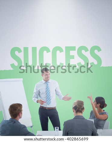 Business team interacting during brainstorming session against success - stock photo