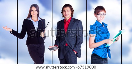 business team is showing something with the hand and smiling on white background