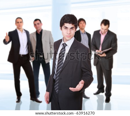 Business team isolated on light business background
