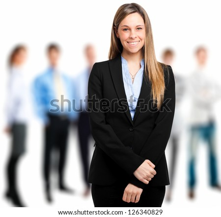 Business team isolated on white - stock photo
