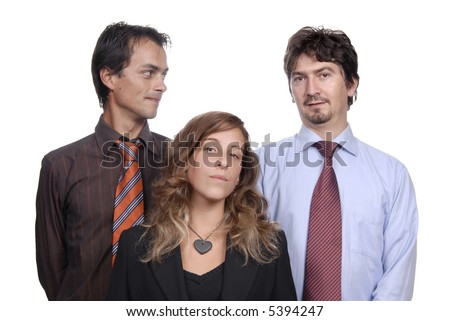 business team, isolated on white background, focus on the woman