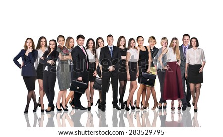 Business team isolated on white with reflection