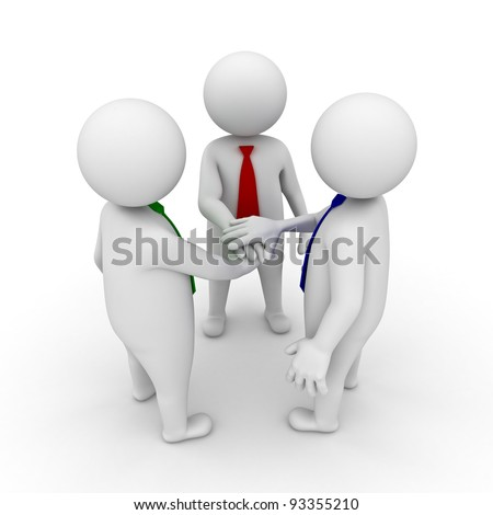 Business team joining hands concept on white background - stock photo
