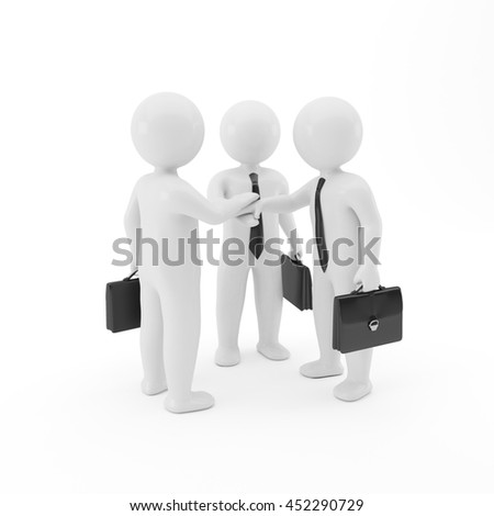 Business team joining hands concept on white background, 3D people, Teamwork, three businessmen isolated image,  Corporate meeting, Persons silhouette, Workers, Partnership Characters, Communications