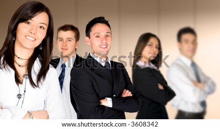 business team lead by a businesswoman in an office - stock photo