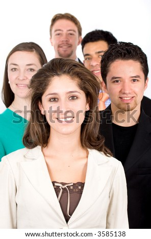 Business team lead by a businesswoman - isolated on a white background