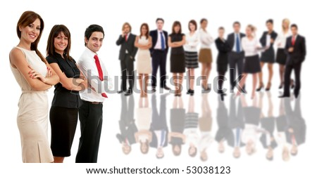 business team leaders with their co workers on white - stock photo