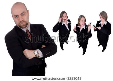 Business team led by a business man isolated over white - stock photo