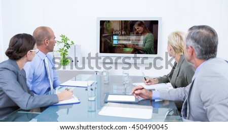 Business team looking at time clock against login screen with smiling woman with pad and coffee - stock photo
