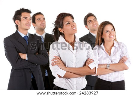 Business team looking up isolated over a white background