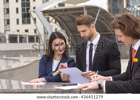 Business Team Meeting Discussion Concept, outdoors - stock photo