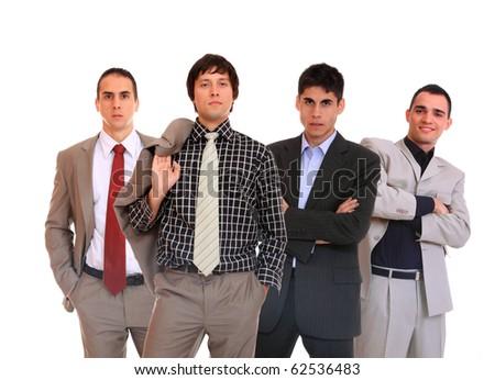business team of four men - stock photo