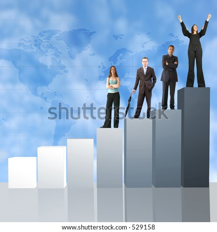 business team on a column chart - stock photo