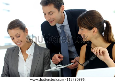 Business team on a project meeting - stock photo