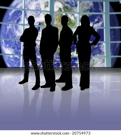 Business team on a space ship looking at planet earth - stock photo