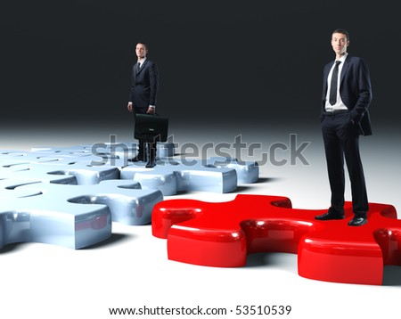 business team on 3d  jigsaw puzzle - stock photo
