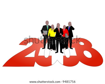 Business team on 2008 text with Swiss flag JPG - stock photo