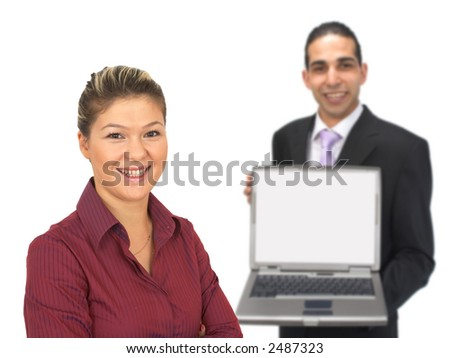 business team on white, shallow dof - stock photo