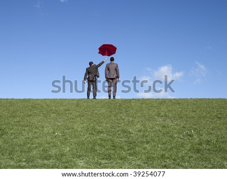 Business team one man shields his colleague. - stock photo