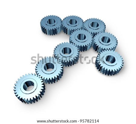 Business team opportunity with industrial metal gears and cogs in the shape of an arrow as an icon of strong partnership and teamwork success working together in a common forward direction. - stock photo