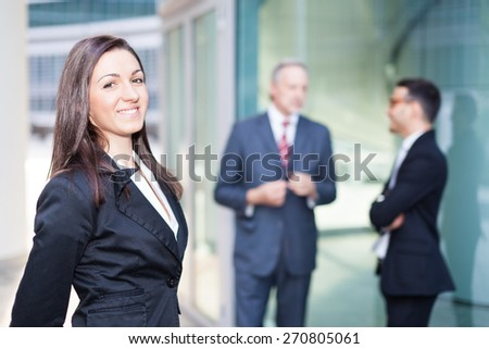 Business team outdoors - stock photo