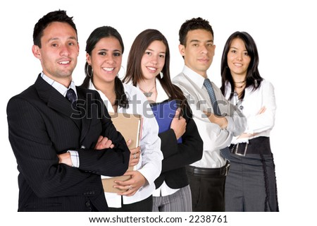 business team over a white background - all members of business team have a friendly look
