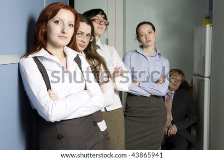 Business team over modern office background