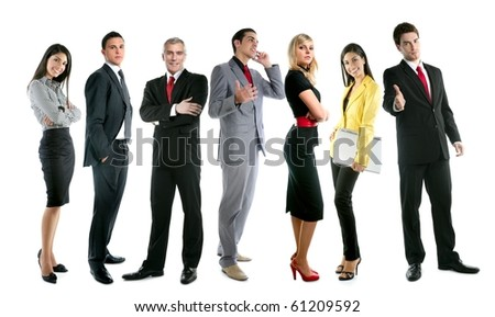 Business team people group crowd full length stand isolated on white background