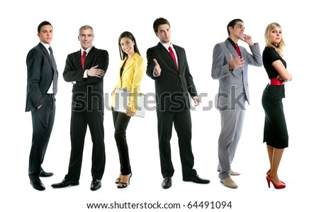 Business team people group crowd full length stand isolated on white background [Photo Illustration]