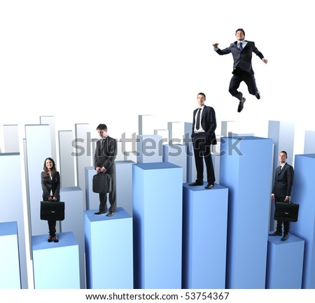 business team people on 3d stat - stock photo