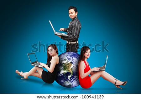 Business team portrait : Elements of this image furnished by NASA - stock photo
